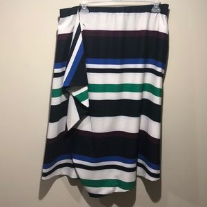 Multicolored Striped Skirt w/ Ruffle